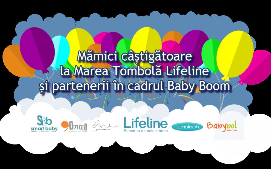 Mămici câștigătoare la Marea Tombolă Lifeline și parteneri în cadrul Baby Boom