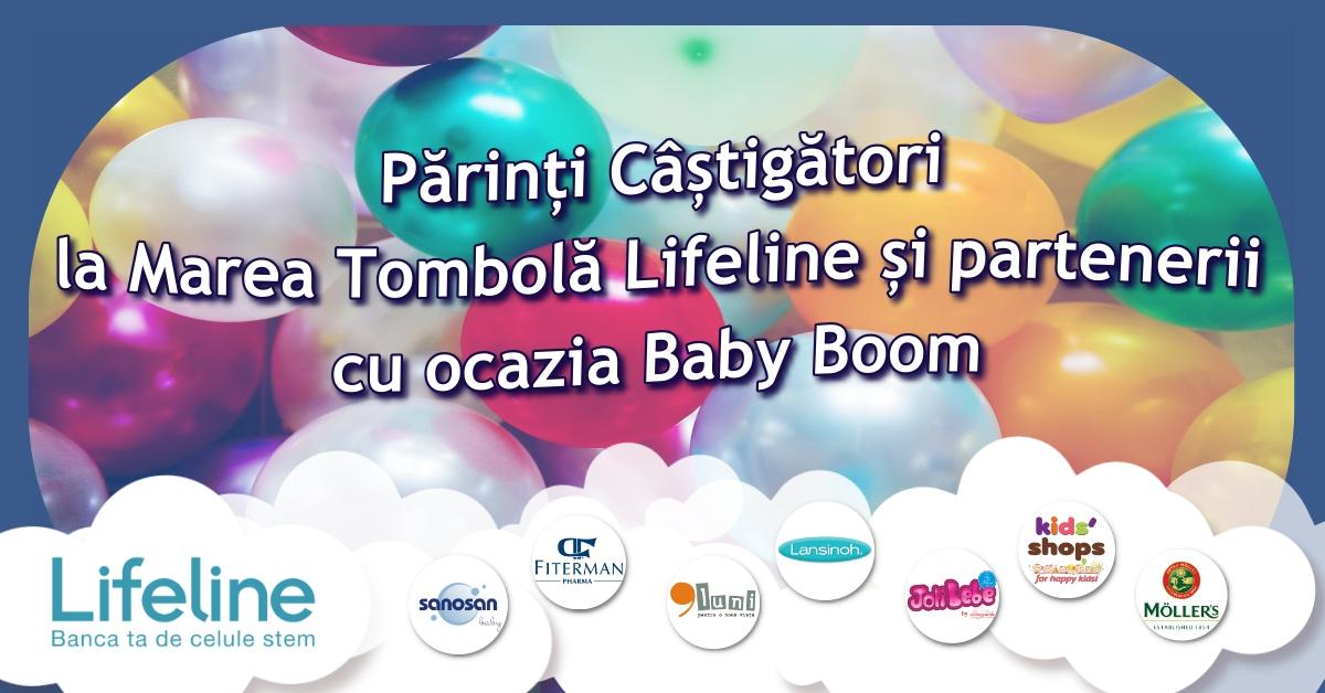 Părinți câștigători la Marea Tombolă Lifeline și partenerii cu ocazia Baby Boom
